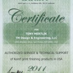 Komfi Certificate - Tony Mertlik - Authorized Service & Technical Support