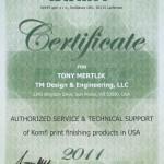 Komfi Certificate - Tony Mertlik - Authorized Service & Technical Support