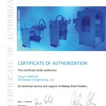 Tony Mertlik - Certificate of Authorization - Mabeg Feeders & Stackers